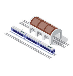 Isometric high-speed train metro on the tracks in vector