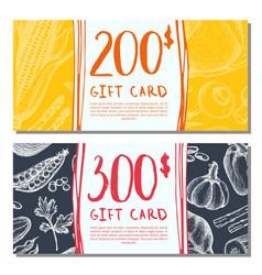 Organic food shop gift card set vector