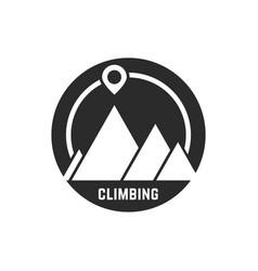 climbing logo with map pin vector image