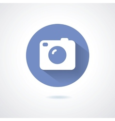 Camera icon flat style with long shadow vector