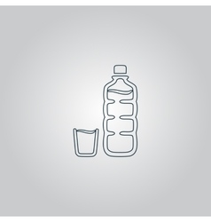 Plastic bottle and glass vector