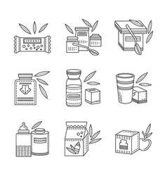 Line icons for healthy nutrition vector