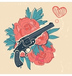 Classic revolvers and roses emblem vector image