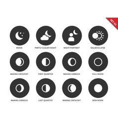 Moon icons on white background vector