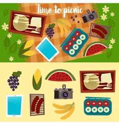 Family weekend picnic set summer picnic vector