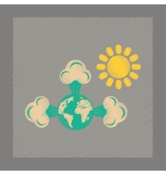 Flat shading style icon earth greenhouse effect vector