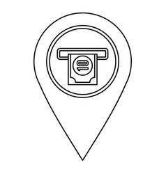 atm machine marker icon outline style vector image vector image