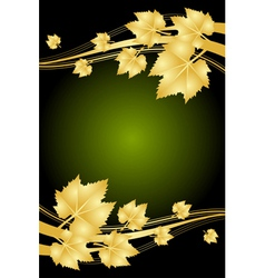autumn green and gold frame vector image vector image