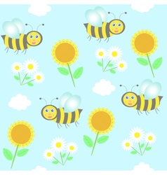 background with bees sunflowers and camomiles vector image vector image