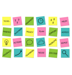 Business set of sticky notes messages vector