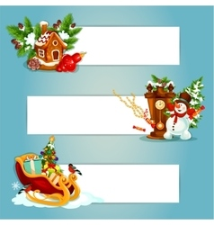 Christmas and new year banner with gift xmas tree vector