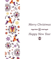 Christmas greeting card with festive elements vector image