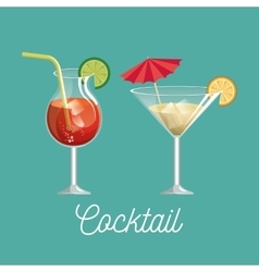 cocktail glass with lemon desing vector image