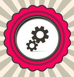 Cog - Gears Icon on Retro Paper Background vector image vector image