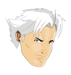 Comic style face of man with white hair icon vector