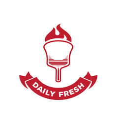 Daily fresh pizza logo with fire on wood board vector