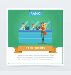 Female client at the bank office bank works vector
