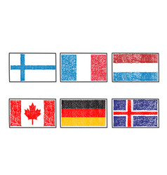 flags of the world icon in cartoon scribble style vector image