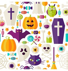 Flat Halloween Party Objects Seamless Pattern over vector image vector image