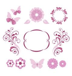 Floral decorative elements vector image vector image