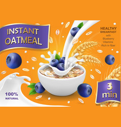 Instant oatmeal with milk blueberry advertising vector