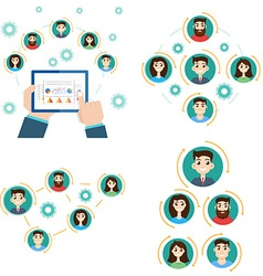 Interaction structure avatar business team vector