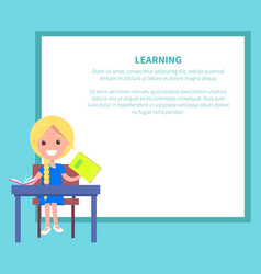 learning banner with blonde girl with textbook vector image