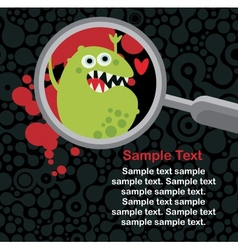 Magnifying glass and microbe in it vector