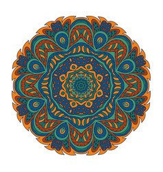 Mandala doodle drawing round ornament blue green vector