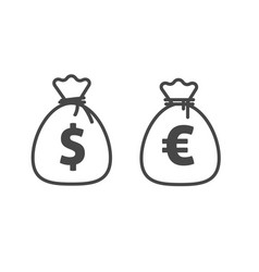 Money bag icon line outline style dollar vector