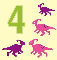 Number 4 Four dinosaur Parasaurolophus vector image vector image
