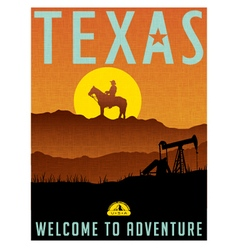 Retro travel poster for Texas vector image vector image