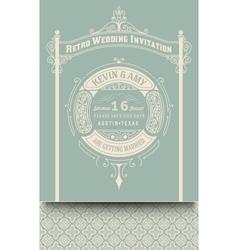 Retro wedding card vector image