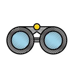 Scribble grey binoculars cartoon vector