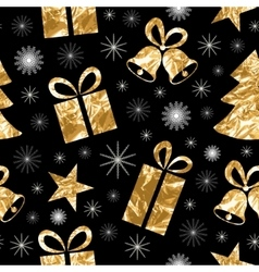 Seamless pattern with gold foil textured bells vector image vector image