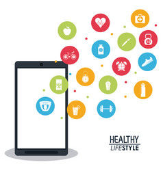 Smartphone with app silhouette healthy lifestyle vector