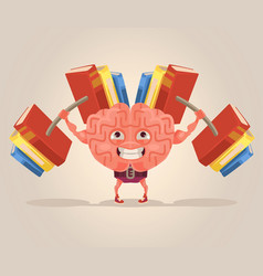 Strong smart brain character mascot vector