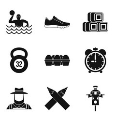 swimmer training icons set simple style vector image vector image