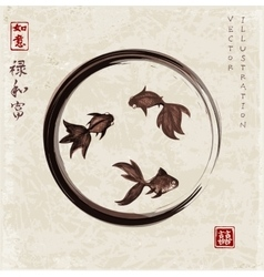Three little goldfishes in black enso zen circle vector image