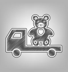 Truck with bear pencil sketch imitation vector