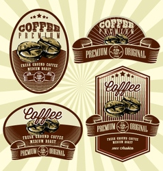 vintage retro coffee label set vector image vector image