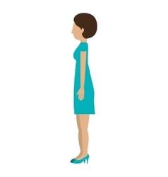 Woman standing dress left profiles short hair vector