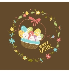 Easter bunnies sitting in a basket with eggs vector
