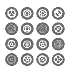 Gears icon set in circles vector image