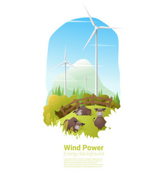 energy concept background with wind turbine 15 vector image