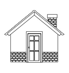 silhouette comfortable facade house with chimney vector image