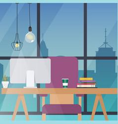 Office work place flat design modern business vector