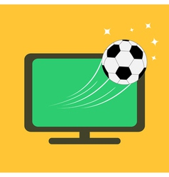 Football soccer ball flying from tv set orange vector