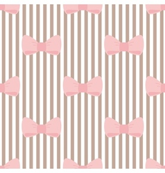 Tile pink bows on brown and white stripes pattern vector