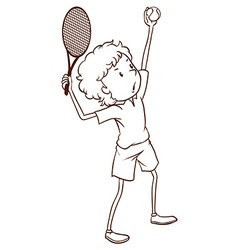 A simple drawing of a tennis player vector image
